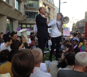 Stephen Knafler QC addressing the crowd at the Save Justice Demonstration