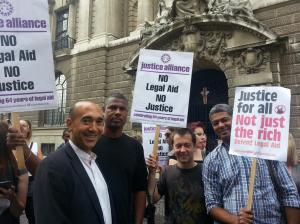 Barristers from Garden Court Chambers gather at the legal aid rally